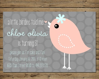Girl Birthday Invitation - Custom Birthday Party Invite - Printable - Vintage Bird
