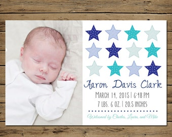 Custom Baby Announcement - Baby Boy Photo Announcement - Printable - Vintage Stars
