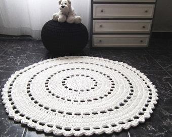 Large Round Doily Rug, Crochet Rug for Nursery, White Knitted Carpet for Baby Girls Boys, Floor Kids Room Decor, Cotton Knit Rug