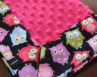 Pink Owl Minky Baby Blanket