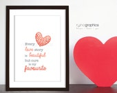 INSTANT DOWNLOAD A4 Love Poem Print - Valentines Day Happy Heart