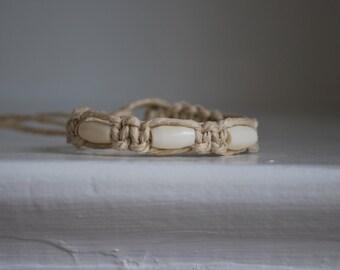 White Bone Beads on Natural Hemp Bracelet