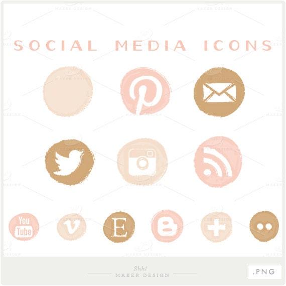 Feminine Logo Set In Gold Rose: Social Media Icons PNG Files For Blogs & Websites Pink