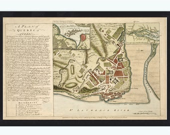 Old Map of Quebec City, Canada 1759