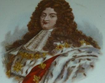 2pcs French  antique porcelain portrait King Queen Louis XIV  Queen  marie antoinette wall plate wall decor signed