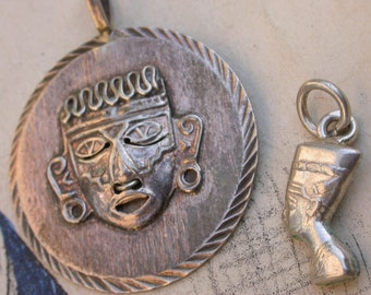 Vintage  ornate  sterling silver mask brooch large egyptian  jewelry  ethnic jewelry figurine