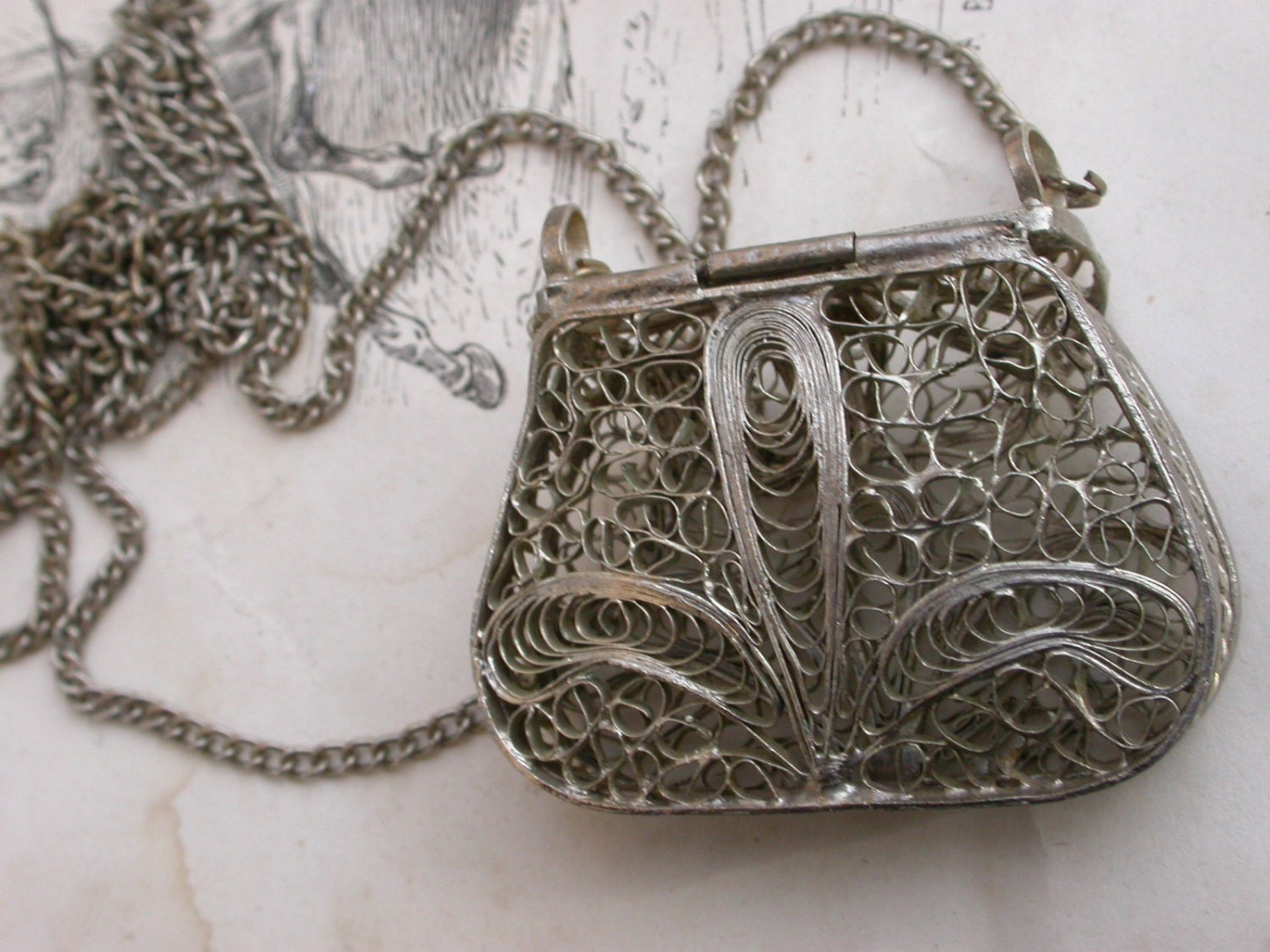 French Antique Filigree Handmade Purse Necklace Silver Purse