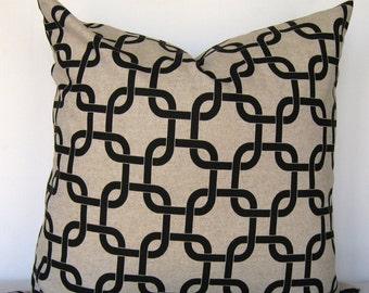 Oatmeal/Black Pillow Cover. Gotcha print pillow cover. Black print Pillow Cover.