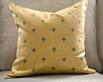 Yellow gold and green Pillow Cover. Classic Pillow Cover. Yellow gold Toss pillow