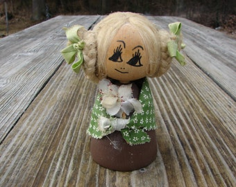 Vintage Collectible Swedish Hand made wooden Hand Painted Folk Doll Girl Figurine 1970s