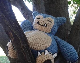 Amigurumi Pokemon Snorlax : Crocheted Sleeping Snorlax Pokemon stuffed animal amigurumi