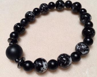 Black Mottle & Black Matte Onyx Beaded Stretch Bracelet