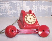 Red Metal Toy Phone: 1950's Solid Red with Beige Dial Childrens Toy Collectible Childrens Phone Mid Century Rotary Telephone