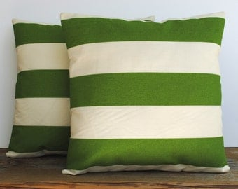 A pair of Premier Prints Indoor/Outdoor green striped Pillow Covers,20x20 cushion, decorative pillow, throw pillow