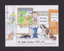 VETERINARIAN Personalized Cartoon Picture Person Pic Gift - Custom Matted Print 8x10 or 9x12, Keychain or Magnet
