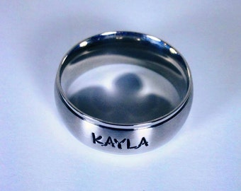 Personalized Ring, Engraved Ring,TriBand Domed Personalized/Engraved Ring, Mens Ring, Name Ring, Class Ring  TBDSS01