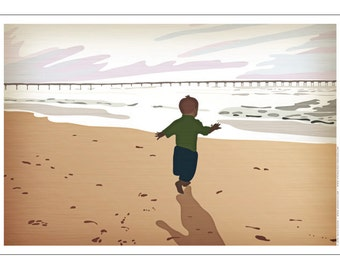 Child on Beach Poster