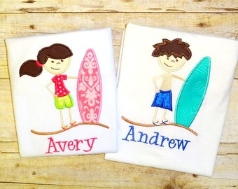 Matching Brother Sister summer shirts Sibling Beach surfer surfboard tops matching outfits clothing matching shirt for siblings