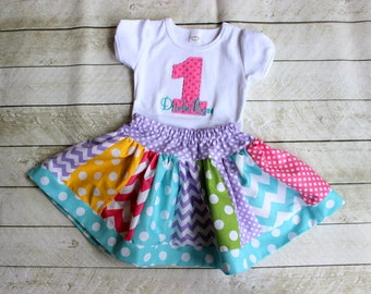 First Birthday Birthday Girls Candy birthday outfit skirt set chevron polka dot polkadot skirt set girls polka dot rainbow outfit clothing