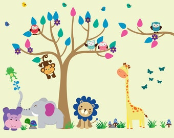 Kids Fabric Tree WALL DECAL, Reusable Fabric Wall Decal, Jungle Decal - N150a