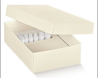 cardboard favor boxes DIY White leather with confetti wedding-transparent cm 9, 5 x 6, 5 x 4