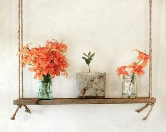 Suspended plant shelf – Barn wood hanging shelf – Indoor hanging planter shelves – Rustic rope shelving – Suspended garden – Reclaimed wood