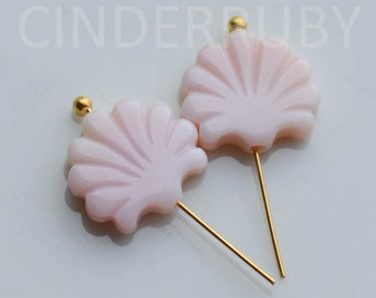 Pink Mother of Pearl Flower Beads,Pink MOP Flowers,Natural Pink Queen Conch Shell Clam Doublet Drops,10 mm,Hand Carved,Set of 4