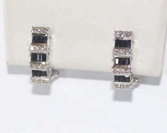 Round Diamond & Sapphire Earrings 18k white gold - 5mm wide - sku 80272