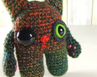Amigurumi Cat with Rich Orange and Green Colors