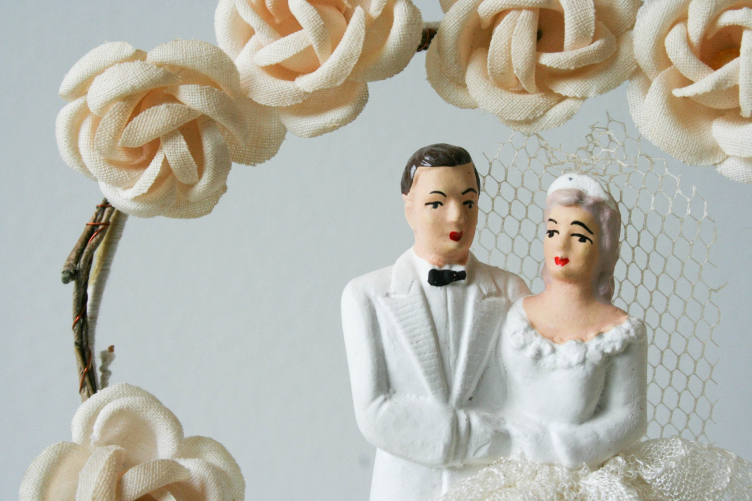 antique wedding cake topper 1940 s groom and bride with