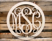 "24"" Inch Wooden Monogram Wall Hanging with Border"