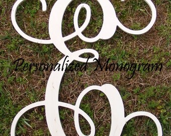 "12"" Wooden Monogram Single Letter Interlocking Script UNPAINTED"