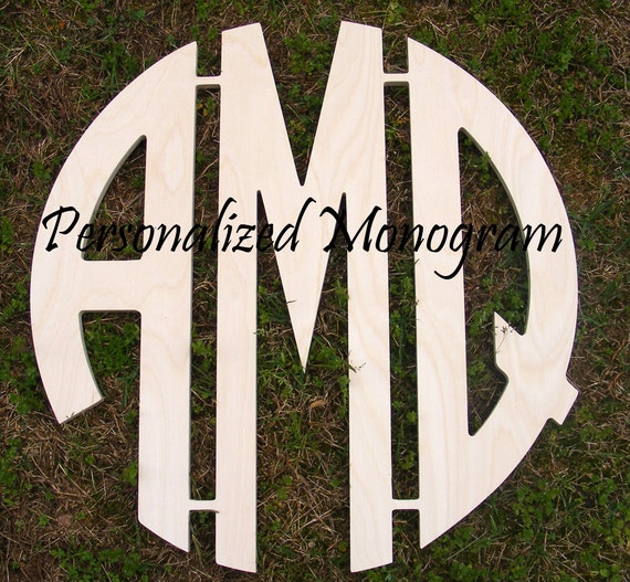 16 inch wooden circle cut monogram connected 3 letters for 16 wooden letters