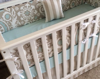 Crib Bedding, Taupe Blue crib bedding, Boy Girl Crib bedding,Floral Crib bedding,Baby Bedding,Baby Blanket,Curtains