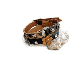 Leopard and leather wrap around bracelet, flower leather cuff, studded bracelet