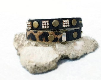 Black leather bracelet, leopard bracelet, double wrap bracelet, rhinestone leather cuff, leopard jewelry, studded bracelet