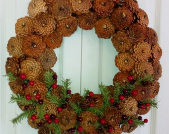 New Slim Reverse Pine Cone Wreath