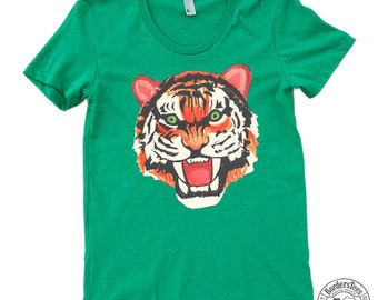 Women's TIGER DRAWING American Apparel Poly-Cotton Tee