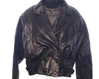 Vintage Leather Jacket 1980s 80s G-III Ladies Large Python Snake Skin Glam Rock and Roll Steampunk Victorian Goth