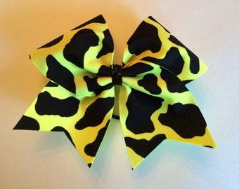 Cheer Bow - Yellow Cow Print