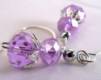 Light Purple Crystal Earring, Lilac Earring Dangles, Light Purple Crystal Drop Earrings, Purple Earrings, Crystal Earrings (E585)