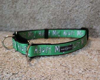 "1"" Green Adopt Me Martingale Collar"