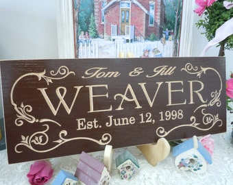 Wedding Gift Personalized Wooden Carved Sign Anniversary Engagement Gift Marriage Established Date Custom Made Engraved Plaque Red Oak 40