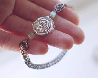 Viking knit bracelet /copper/silver/ roses and cubes