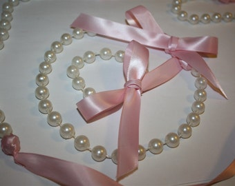 Retro Style Faux Pearl and Pink Bow Ribbon Necklaces and Bracelets