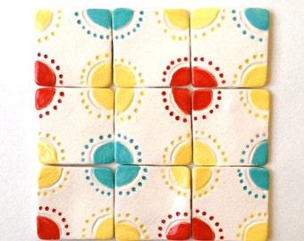 "Set of 4 (1.25"") ACCENT TILE, Red, Yellow, Turquoise, Backsplash, Old World Kitchen, Elegant, Bathroom, Kitchen, Rustic, Ethnic, Mosaic"