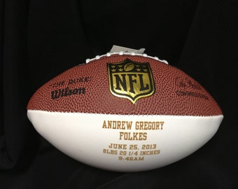 Personalized Birth Announcement Football Laser Engraved