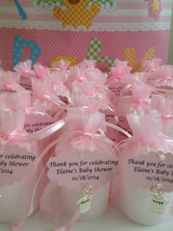 30 Baby Shower Favors -Votive Candles in an Organza Bag with a Charm ...