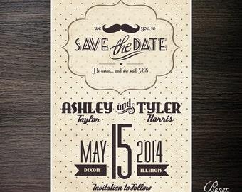 Vintage Mustache Save the Dates - Digital