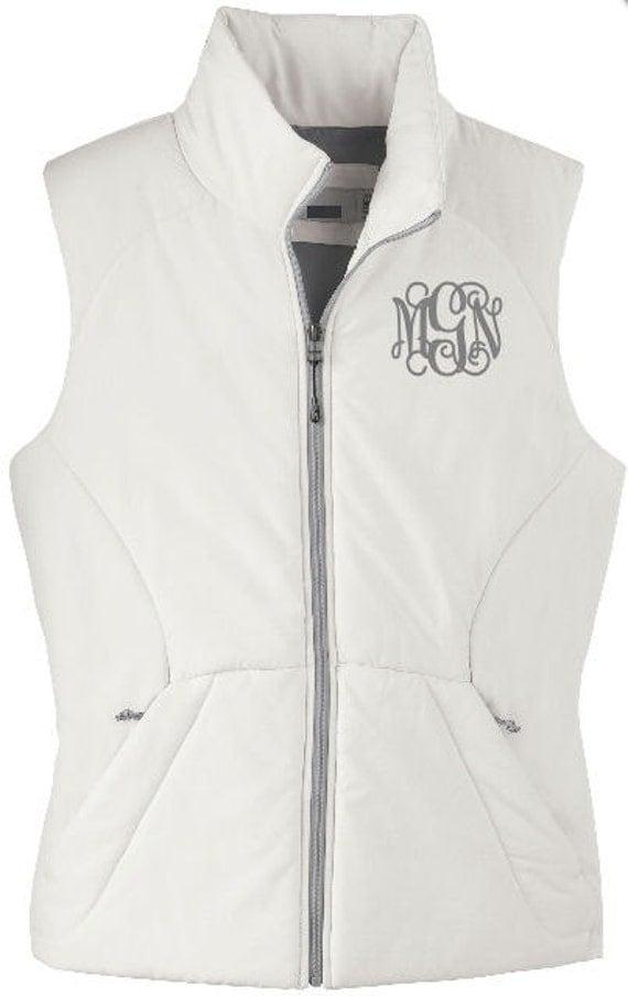 ladies u0026 39  large white monogrammed puffy vest